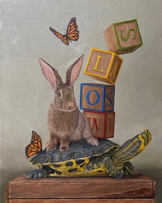 (CreativeWork) Slow v Fast by Claire Pierce. Oil Paint. Shop online at Bluethumb.