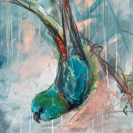 (CreativeWork) Garden Bird - Red-rumped parrot  by Rebecca Hill. Mixed Media. Shop online at Bluethumb.