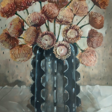 (CreativeWork) Black Vase by Sam Suttie. Oil Paint. Shop online at Bluethumb.