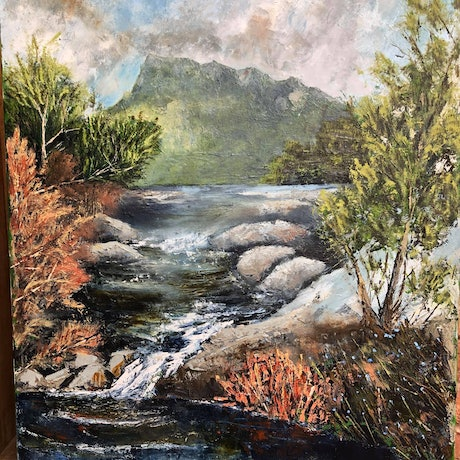 (CreativeWork) Lake Lilla  by Liam Rudolf. Oil Paint. Shop online at Bluethumb.