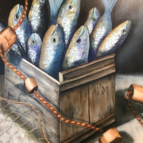 (CreativeWork) Catch of the Day by Dianne Fix. Oil Paint. Shop online at Bluethumb.