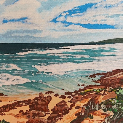 (CreativeWork) Skies from the cape by Ellie Biggs. Acrylic Paint. Shop online at Bluethumb.
