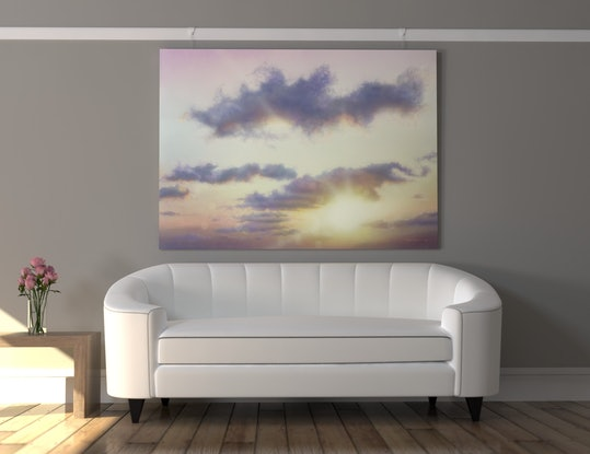 (CreativeWork) Pink Over Dusk by David Tracey. Acrylic Paint. Shop online at Bluethumb.
