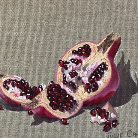 (CreativeWork) Pomegranate #95 100 Days project by Julie Cane. Oil. Shop online at Bluethumb.