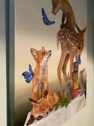 (CreativeWork) WILD in the forest by Claire Pierce. Oil Paint. Shop online at Bluethumb.