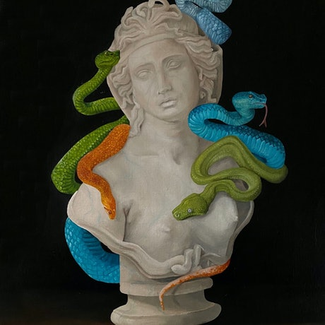 (CreativeWork) Medusa by Claire Pierce. Oil Paint. Shop online at Bluethumb.