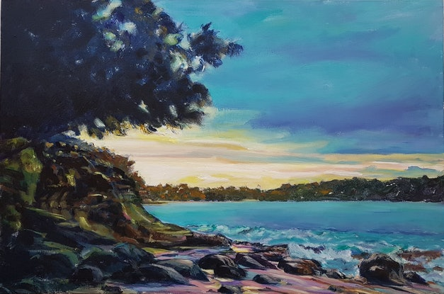 (CreativeWork) DAYS END BUNDEENA by Suzy Strout. Acrylic Paint. Shop online at Bluethumb.