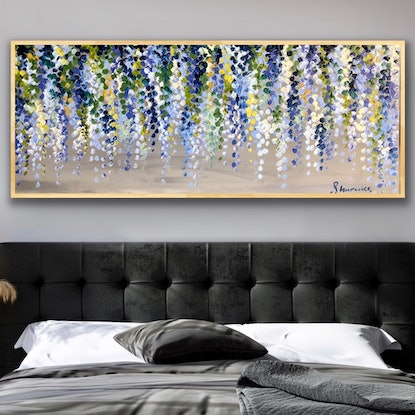(CreativeWork) Baby blue wisteria 153x62 framed large textured abstract wisteria  by Sophie Lawrence. Acrylic Paint. Shop online at Bluethumb.