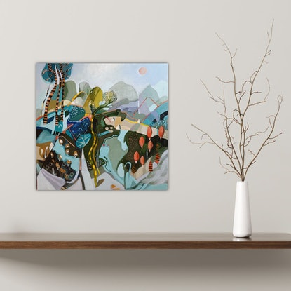 (CreativeWork) Abstract Landscape  - Orange Trees by Susan Trudinger. Acrylic Paint. Shop online at Bluethumb.
