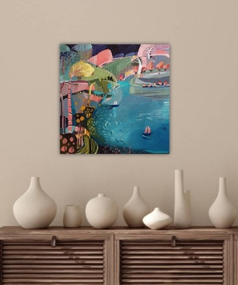 (CreativeWork) Abstract Landscape  - Pink Sailboat by Susan Trudinger. Acrylic Paint. Shop online at Bluethumb.