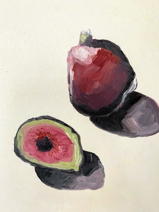 (CreativeWork) Figs by Brianna Gittos. Oil Paint. Shop online at Bluethumb.