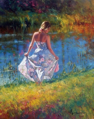(CreativeWork) IN THE MOMENT - by Robert Hagan  by Robert Hagan. Oil Paint. Shop online at Bluethumb.
