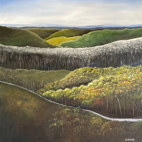 (CreativeWork) High Country by Corinne Young. Oil Paint. Shop online at Bluethumb.