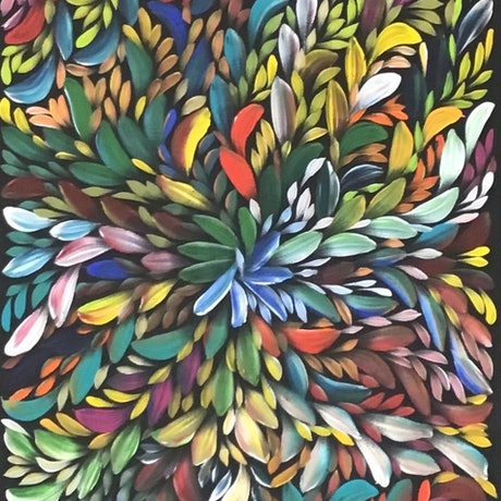 (CreativeWork) Bush Medicine Leaves - Rainbow (A) by Louise Numina. Acrylic Paint. Shop online at Bluethumb.