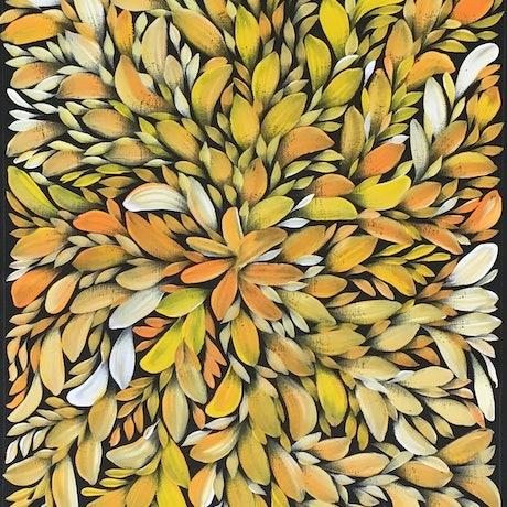 (CreativeWork) Bush Medicine Leaves - Yellow/ Orange (A) by Louise Numina. Acrylic Paint. Shop online at Bluethumb.