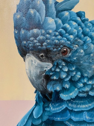 (CreativeWork) Blue Cockatoo 2 by Claire Pierce. Oil Paint. Shop online at Bluethumb.
