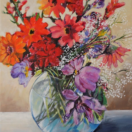 (CreativeWork) Circle of blooms by Eileen Scrymgeour Rigby. Acrylic Paint. Shop online at Bluethumb.