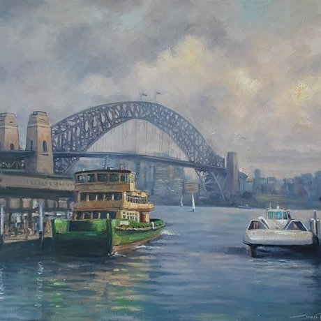 (CreativeWork) A Ferry Jet Story Sydney Harbour (1121) by Marc Poisson. Oil. Shop online at Bluethumb.