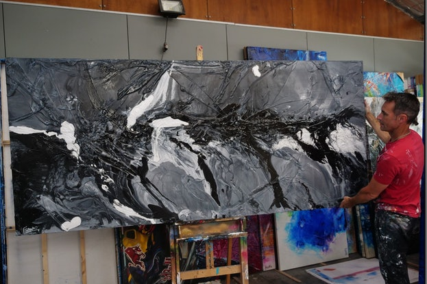 (CreativeWork) Black Magic 270cm x 120cm White Grey Abstract Textured Acrylic Gloss Finish FRANKO by _Franko _. Acrylic Paint. Shop online at Bluethumb.