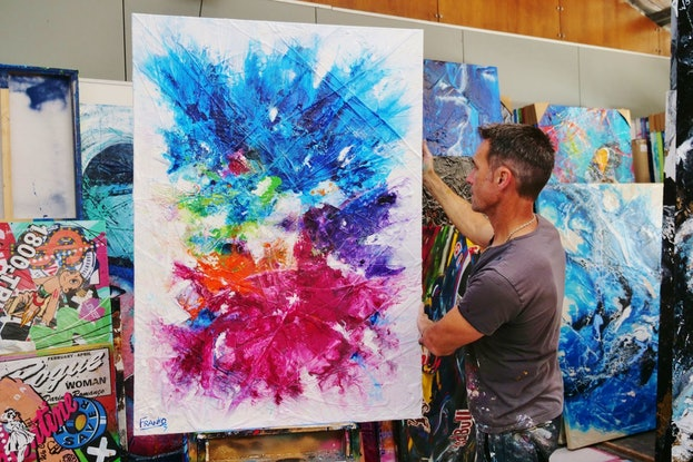 (CreativeWork) Colour Bomb 140cm x 100cm Colourful Abstract Textured Acrylic Gloss Finish FRANKO by _Franko _. Acrylic Paint. Shop online at Bluethumb.