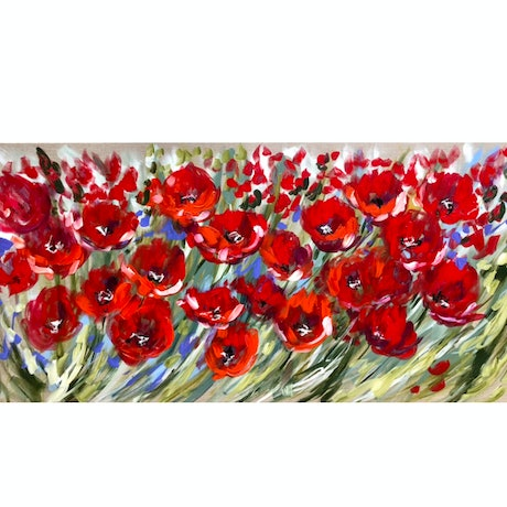 (CreativeWork) forget me not poppies  by Amanda Brooks. Acrylic Paint. Shop online at Bluethumb.