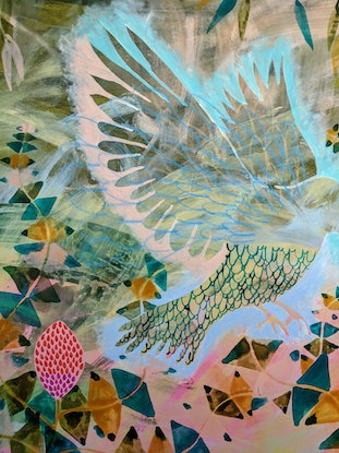 (CreativeWork) Bobby Blue in the Banksias by Marinka Parnham. Acrylic Paint. Shop online at Bluethumb.