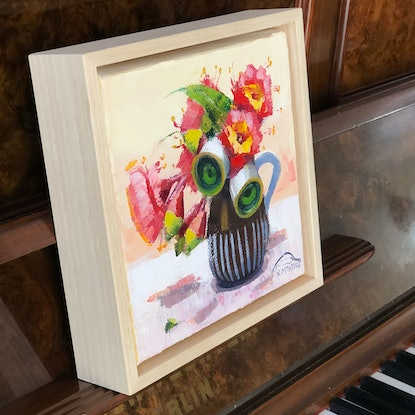 (CreativeWork) Princess gum in little brown jug (24cm framed) by kirsty mcintyre. Oil Paint. Shop online at Bluethumb.
