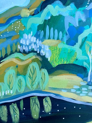 (CreativeWork) Deep Blue Spring by Clair Bremner. Acrylic Paint. Shop online at Bluethumb.