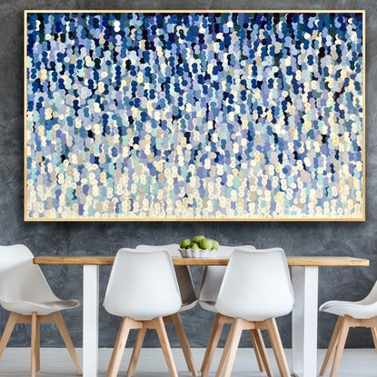 (CreativeWork) Indigo blue 200x122 framed large textured abstract  by Sophie Lawrence. Acrylic Paint. Shop online at Bluethumb.