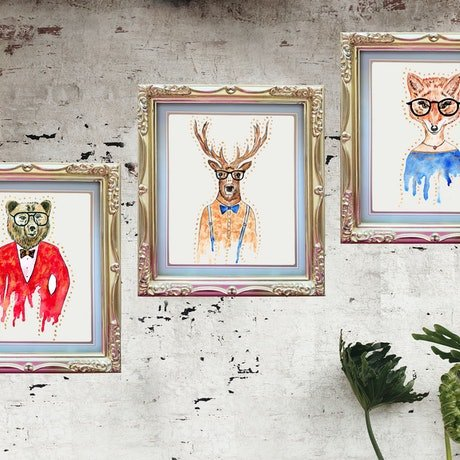 (CreativeWork) Forest Creatures by Melanie Spehr. Mixed Media. Shop online at Bluethumb.