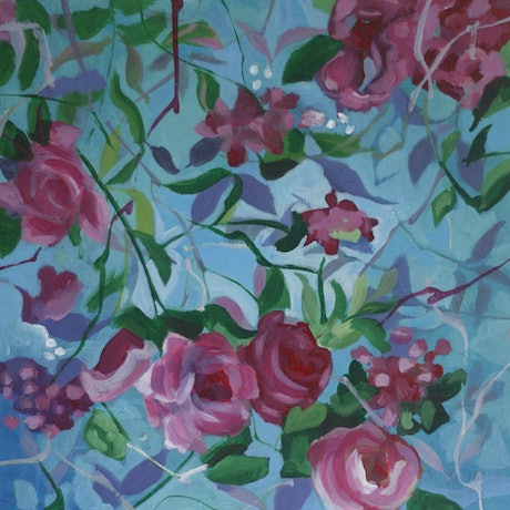 (CreativeWork) Roses by Jodi Stewart. Acrylic Paint. Shop online at Bluethumb.