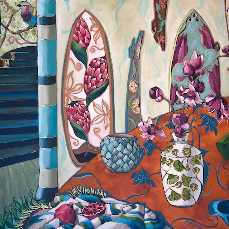 (CreativeWork) The Summer House by Kobie Bosch. Oil Paint. Shop online at Bluethumb.