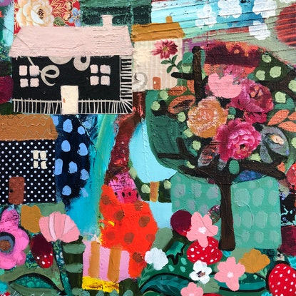 (CreativeWork) Strawberry Fields  by Sandra Oost. Mixed Media. Shop online at Bluethumb.