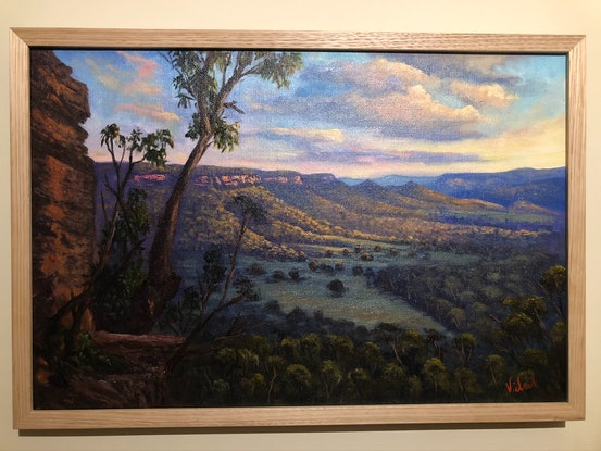 (CreativeWork) A view on Kanimbla Valley from Mt Victoria by Christopher Vidal. Oil Paint. Shop online at Bluethumb.