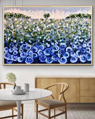 (CreativeWork) The blue poppy 153x102 framed large textured abstract landscape by Sophie Lawrence. Acrylic Paint. Shop online at Bluethumb.