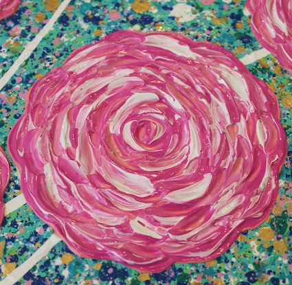 (CreativeWork) Flowers - Pink Roses in Gold Vase - textured abstract by Miranda Lloyd. Mixed Media. Shop online at Bluethumb.