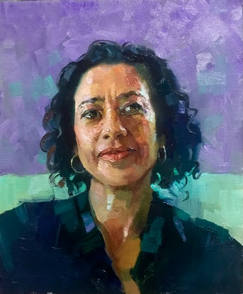 (CreativeWork) Oil Sketch - Samira by Colleen Stapleton. Oil Paint. Shop online at Bluethumb.