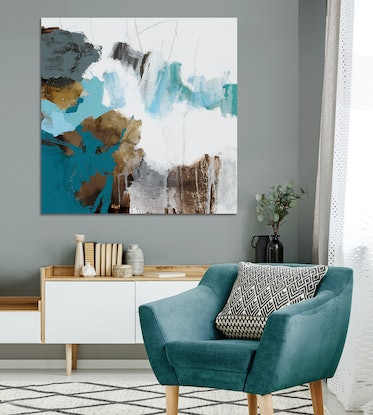 (CreativeWork) Prato - large teal, blue, brown, gold abstract  by Stephanie Laine. Acrylic Paint. Shop online at Bluethumb.