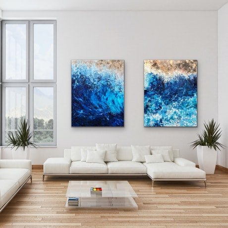 (CreativeWork) Deep Dive & Infinite - Diptych by Kristyna Dostalova. Oil Paint. Shop online at Bluethumb.