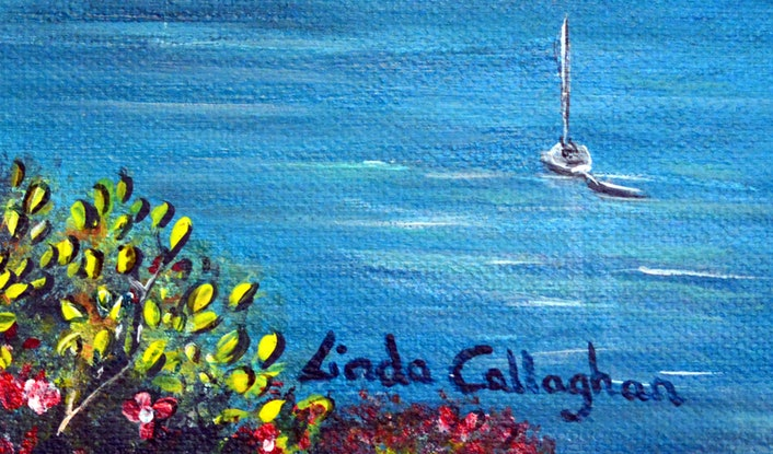 (CreativeWork) Sydney Harbour by Linda Callaghan. Acrylic Paint. Shop online at Bluethumb.
