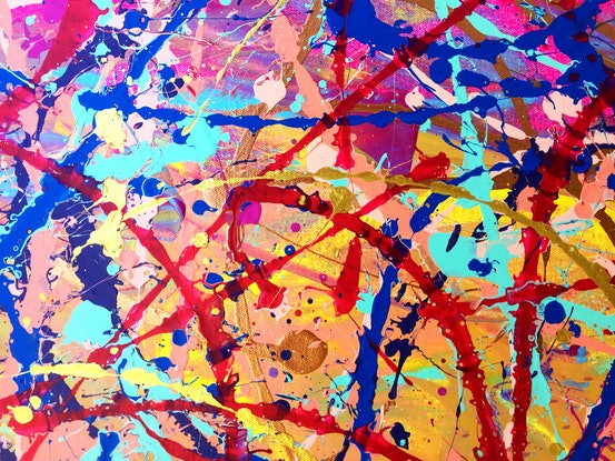 (CreativeWork) Golden thread of Abstract Expressionism by Estelle Asmodelle. Acrylic Paint. Shop online at Bluethumb.