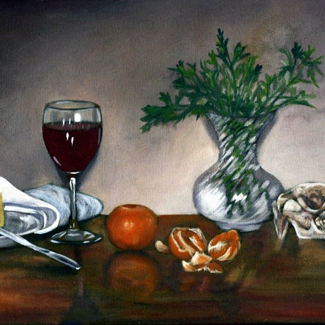 (CreativeWork) Still Life with Mandarin by Jodi Stewart. Oil Paint. Shop online at Bluethumb.