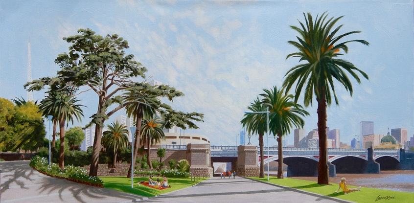 (CreativeWork) A Pocket in the Heart of Melbourne by Lance Ross. Oil Paint. Shop online at Bluethumb.