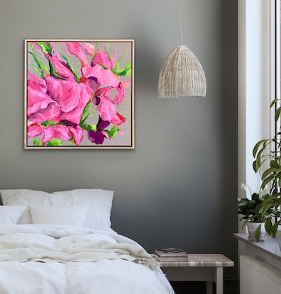 (CreativeWork) Pink Roses, Sugar & Spice (framed) by Eve Sellars. Acrylic Paint. Shop online at Bluethumb.