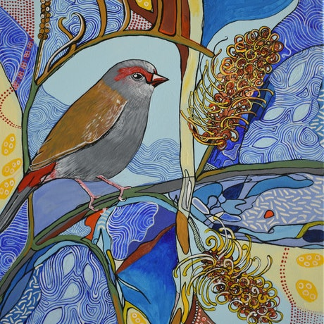 (CreativeWork) Red-browed Finch No. 2 by Naomi Malone. Acrylic Paint. Shop online at Bluethumb.