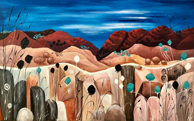 (CreativeWork) Red Centre Dreaming 2. (Whimsy Series) by Marion Rispin. Acrylic Paint. Shop online at Bluethumb.