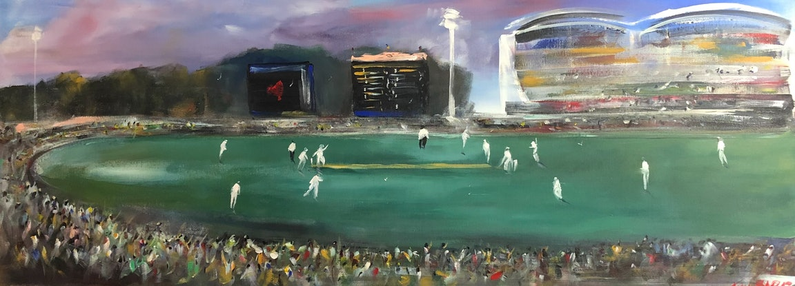 (CreativeWork) The Test - Adelaide Oval by Tina Barr. Acrylic Paint. Shop online at Bluethumb.