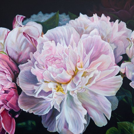 (CreativeWork) Peonie Parfumerie  by Nicole Reed. Oil Paint. Shop online at Bluethumb.