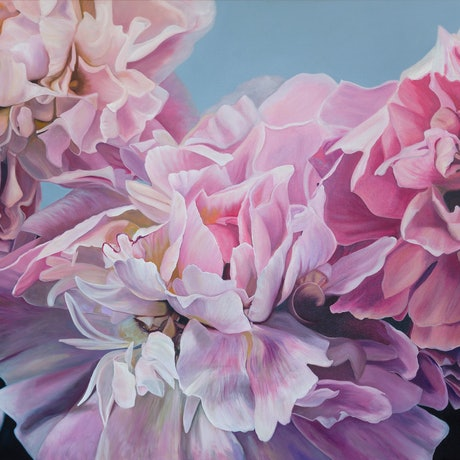 (CreativeWork) Peonie Embrace by Nicole Reed. Oil Paint. Shop online at Bluethumb.