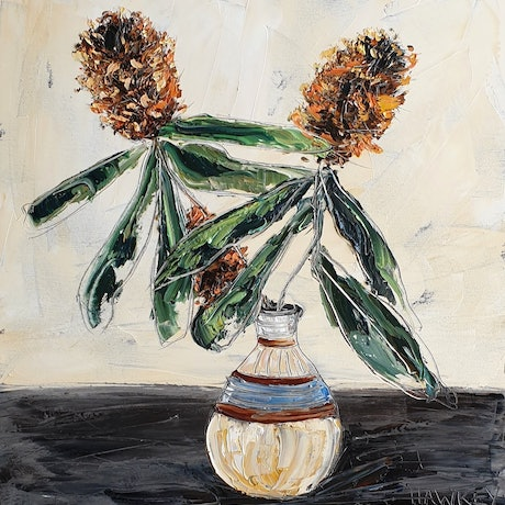 (CreativeWork) Banksia by Angela Hawkey. Oil Paint. Shop online at Bluethumb.